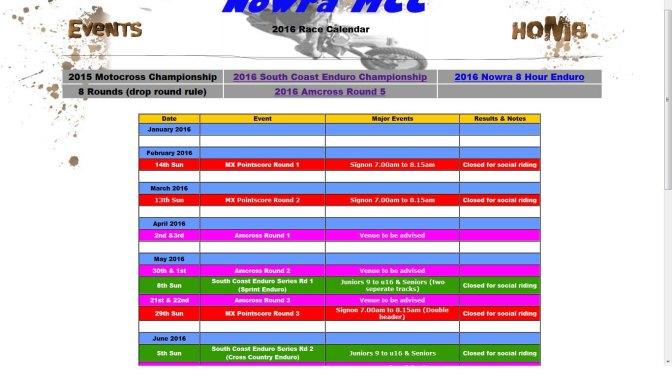 2016 Race Calendar released